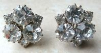 Vintage Rhinestone Clip On Earrings.